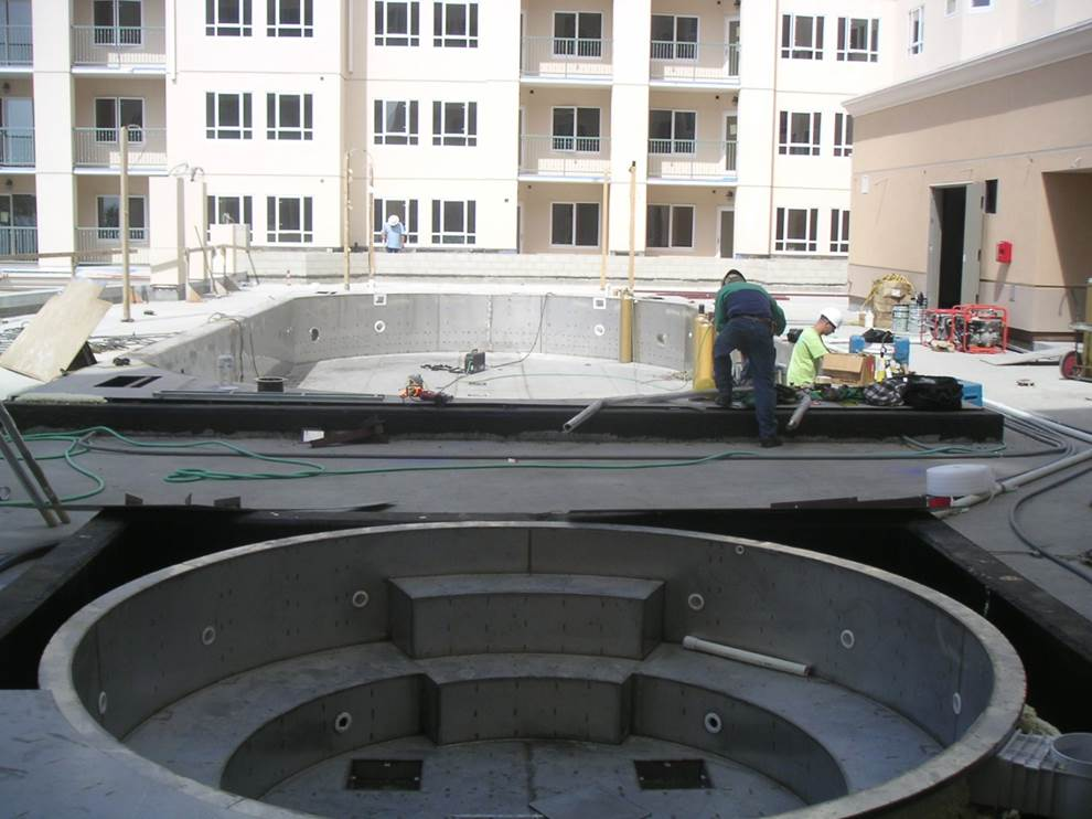 Commercial installation steel pool and spa project gallery for Pool and spa builders