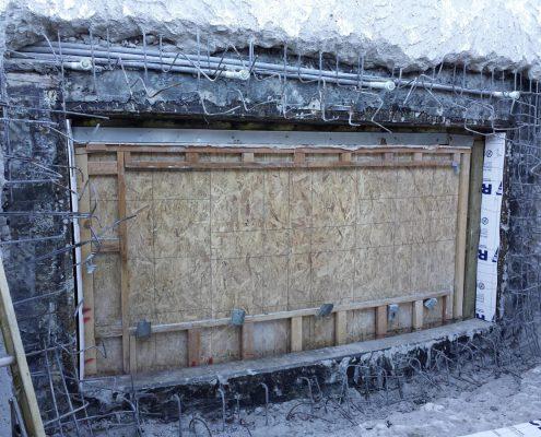 Reinstall engineered steel around window perimeter