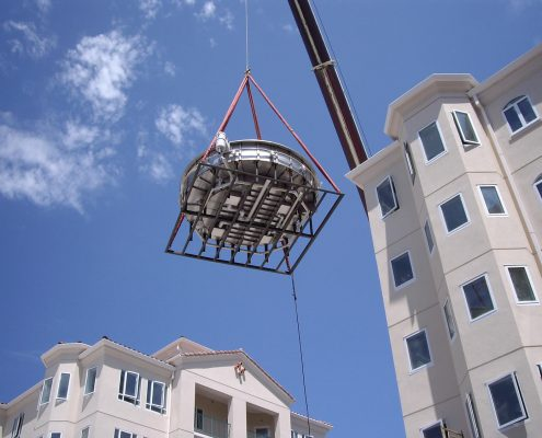 Oceanside Pier Resort Steel Spa Crane Installation